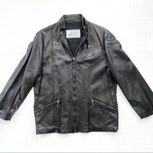 Gianni Versace Vintage 3/4 sleeve leather jacket
